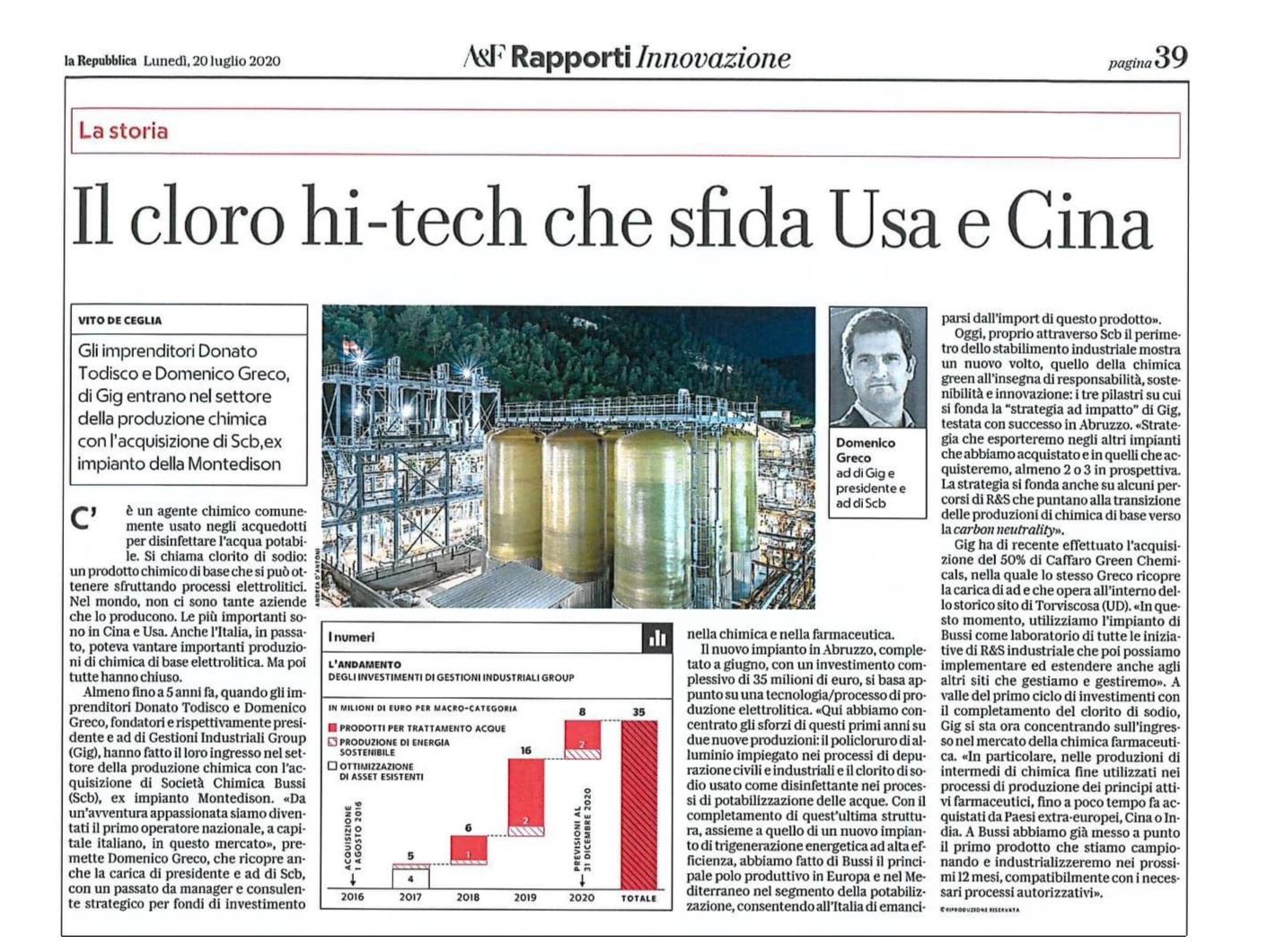Il cloro hi-tech che sfida Usa e Cina